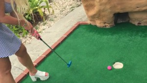 Public Exposed Hot blonde playing PUTT PUTT