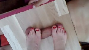 Nice feet on cockbox cock and balls trample massage - POV