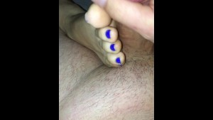 Blue toes footjob with cumshot and vibrator dildo