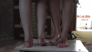 Two Pairs Sexy Legs And Cock Balls Trample Crush Massacre Under Them -2