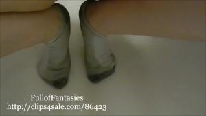 Peeing in Knee High White cotton Socks