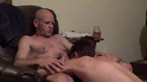 Wife sucks Husband s Big Dick in Chair