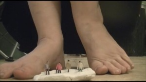 Giantess Crushes Tiny Men with Feet