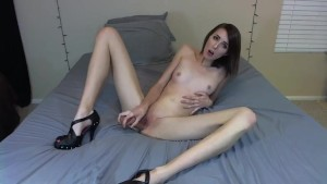 Brunette Sucks and Fucks Dildo In Sexy Heels