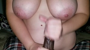 Interracial Titfuck & Handjob w/ Huge White Tits Leads to Messy Cumshot!!