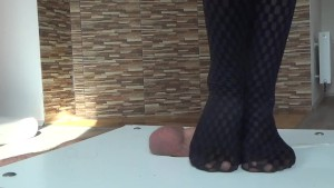 Trample dancing and brutal jumping on cock and balls. Big cumshots