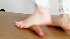 Barefeet stomping, jumping and cockcrush dance with cumshot