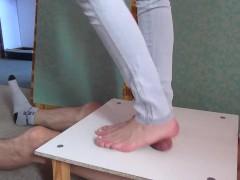 Sexy foot crushing manhood