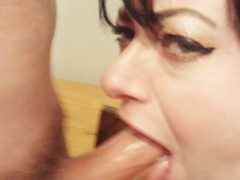 Pretty wife deep throat and cum swallow!