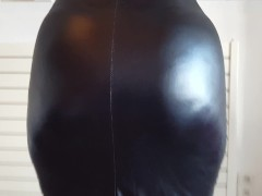 He pulls up her latex skirt and shows her bare big white ass